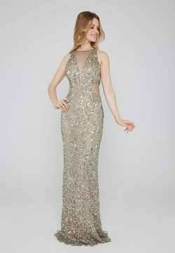 Style 163 Aleta Gold Size 12 High Neck Pageant LONG Dress on Queenly