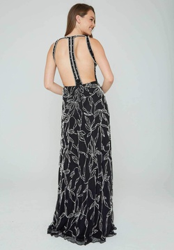 Style 165 Aleta Black Size 00 Plunge Backless Tall Height Straight Dress on Queenly