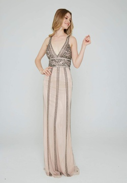 Style 185 Aleta Nude Size 8 Tall Height Straight Dress on Queenly