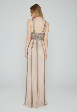 Style 185 Aleta Nude Size 14 Tall Height Straight Dress on Queenly