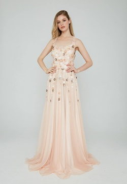 Queenly size 8 Aleta Pink A-line evening gown/formal dress