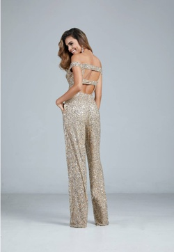 Style 193 Aleta Gold Size 0 Pageant Jewelled Sequin Romper/Jumpsuit Dress on Queenly