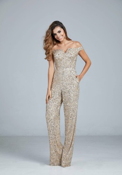 Style 193 Aleta Gold Size 4 Pageant Jewelled Sequin Romper/Jumpsuit Dress on Queenly