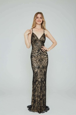 Style 196 Aleta Black Size 4 Nude Tall Height Straight Dress on Queenly