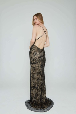 Style 196 Aleta Black Size 14 Nude Tall Height Straight Dress on Queenly