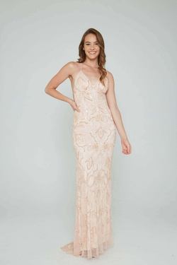 Style 196 Aleta Pink Size 8 Pattern Prom Straight Dress on Queenly
