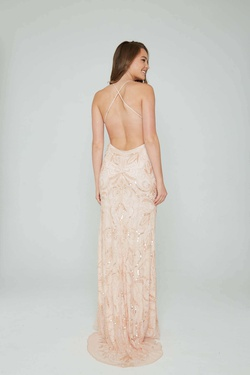 Style 196 Aleta Pink Size 10 Pattern Prom Straight Dress on Queenly