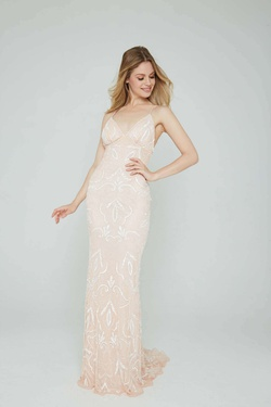 Style 196 Aleta White Size 2 Pink Prom Straight Dress on Queenly