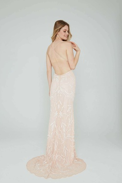 Style 196 Aleta White Size 14 Tall Height Pink Straight Dress on Queenly