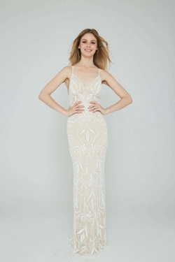 Style 196 Aleta Nude Size 4 Tall Height Straight Dress on Queenly