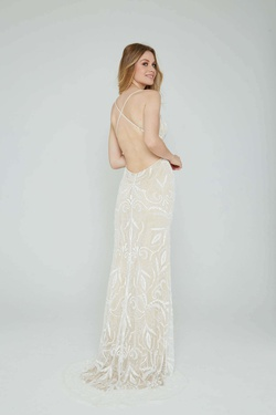 Style 196 Aleta Nude Size 8 Tall Height Straight Dress on Queenly