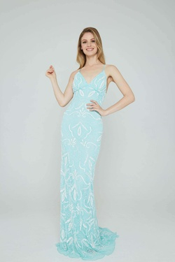 Style 196 Aleta Blue Size 8 Tall Height Straight Dress on Queenly