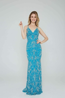 Style 196 Aleta Blue Size 4 Turquoise Tall Height Straight Dress on Queenly
