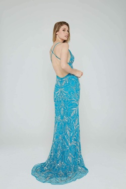 Style 196 Aleta Blue Size 14 Plus Size Tall Height Straight Dress on Queenly