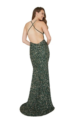 Style 200 Aleta Green Size 00 Emerald Side slit Dress on Queenly