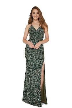 Style 200 Aleta Green Size 12 Plus Size Tall Height Side slit Dress on Queenly