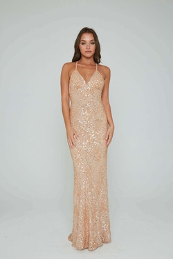 Style 274 Aleta Nude Size 8 Tall Height Straight Dress on Queenly