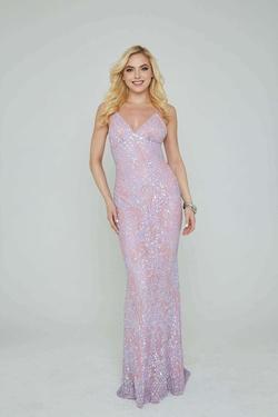 Style 274 Aleta Purple Size 12 LONG PAISLEY PATTERN Dress on Queenly