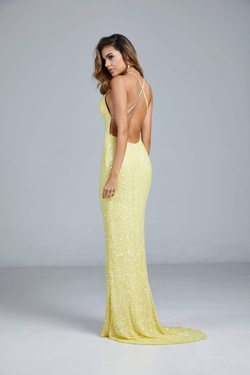 Style 275 Aleta Yellow Size 4 Prom Tall Height Straight Dress on Queenly