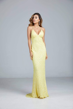 Queenly size 12 Aleta Yellow Straight evening gown/formal dress