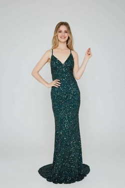 Queenly size 8 Aleta Green Straight evening gown/formal dress