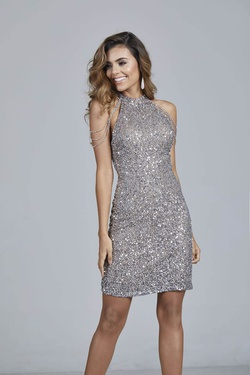 Queenly size 0 Aleta Silver Cocktail evening gown/formal dress