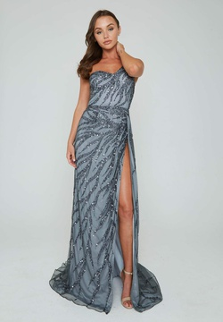 Style 316 Aleta Silver Size 2 One Shoulder Pageant Prom Side slit Dress on Queenly