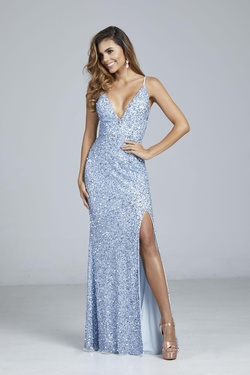 Style 333 Aleta Blue Size 0 Corset Tall Height Side slit Dress on Queenly