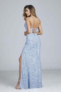 Style 333 Aleta Blue Size 14 Corset Tall Height Side slit Dress on Queenly