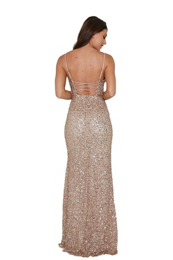 Style 333 Aleta Rose Gold Size 4 Prom Side slit Dress on Queenly