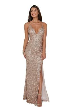 Queenly size 6 Aleta Gold Side slit evening gown/formal dress