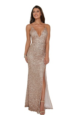 Style 333 Aleta Gold Size 10 Corset Tall Height Side slit Dress on Queenly