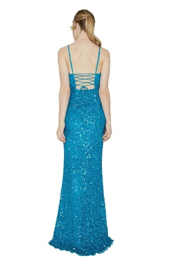 Style 333 Aleta Blue Size 18 Corset Tall Height Side slit Dress on Queenly