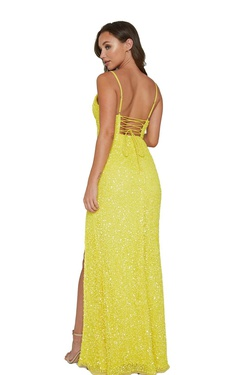 Style 333 Aleta Yellow Size 12 Prom Plus Size Side slit Dress on Queenly