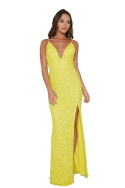 Queenly size 16 Aleta Yellow Side slit evening gown/formal dress