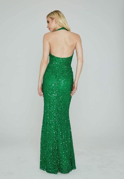 Style 353 Aleta Green Size 4 Halter Tall Height Straight Dress on Queenly
