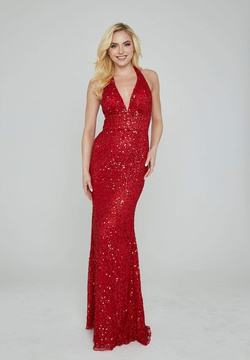 Style 353 Aleta Red Size 10 Halter Backless Tall Height Straight Dress on Queenly