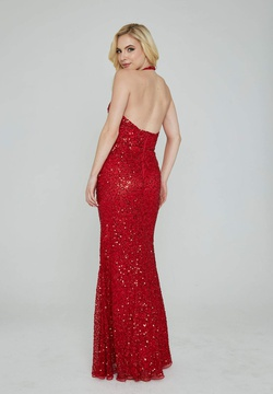 Style 353 Aleta Red Size 12 Halter Backless Tall Height Straight Dress on Queenly