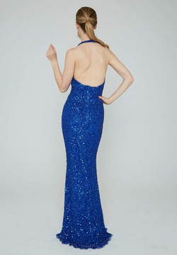 Style 353 Aleta Blue Size 6 Halter Backless Tall Height Straight Dress on Queenly