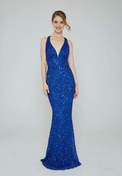 Style 353 Aleta Blue Size 8 Halter Backless Tall Height Straight Dress on Queenly