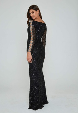 Style 365 Aleta Black Size 4 Sleeves Pageant Tall Height Side slit Dress on Queenly