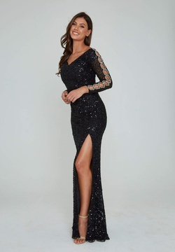 Style 365 Aleta Black Size 6 Sleeves Pageant Tall Height Side slit Dress on Queenly