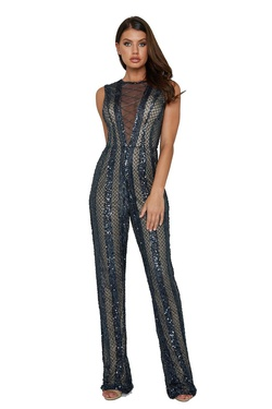 Queenly size 4 Aleta Blue Romper/Jumpsuit evening gown/formal dress