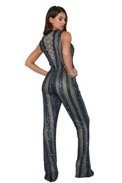 Style 372 Aleta Blue Size 14 Fun Fashion Plus Size Plunge Romper/Jumpsuit Dress on Queenly