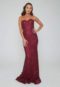 Style 391 Aleta Red Size 14 Burgundy Prom Plus Size Mermaid Dress on Queenly