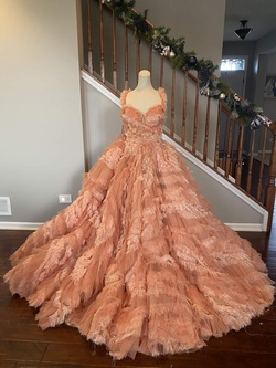 Orange Size 4 Ball gown on Queenly