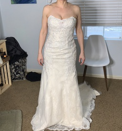 Davids Bridal White Size 8 Wedding Train Dress on Queenly