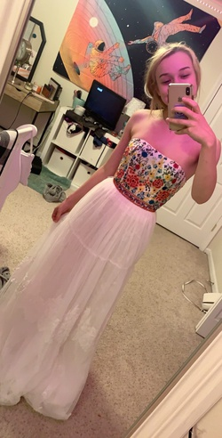 Sherri Hill White Size 00 Prom Strapless Floral Straight Dress on Queenly