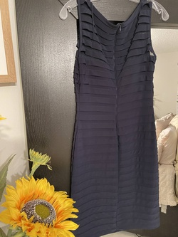 Adrianna Papell Blue Size 4 Sorority Formal Tall Height Wedding Guest Cocktail Dress on Queenly