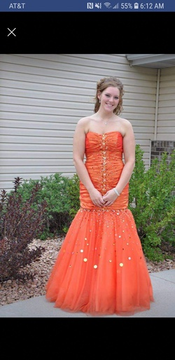 Queenly size 10  Orange Mermaid evening gown/formal dress